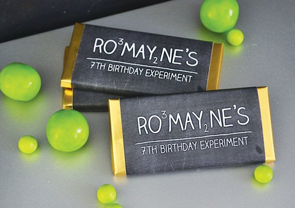 chocolate party favors with chalkboard wraps