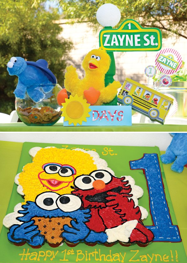 sesame street cupcake display and table decor