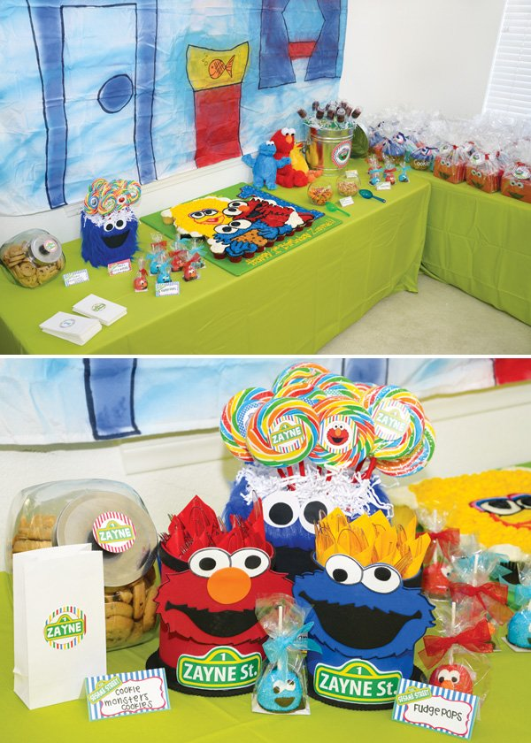 sesame street themed dessert table