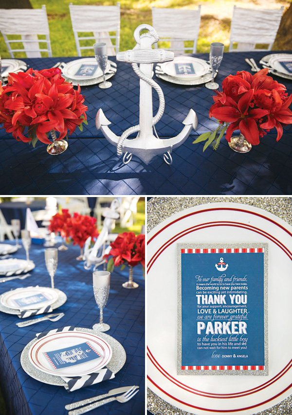 red, white and blue nautical tablescape