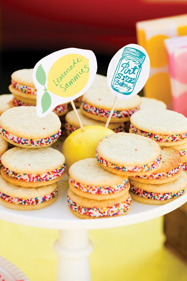 lemonade flavored cookie sandwiches with sprinkles