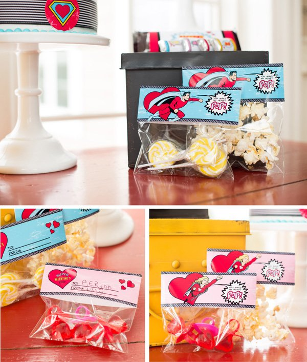 superhero valentines day party favor candy bags