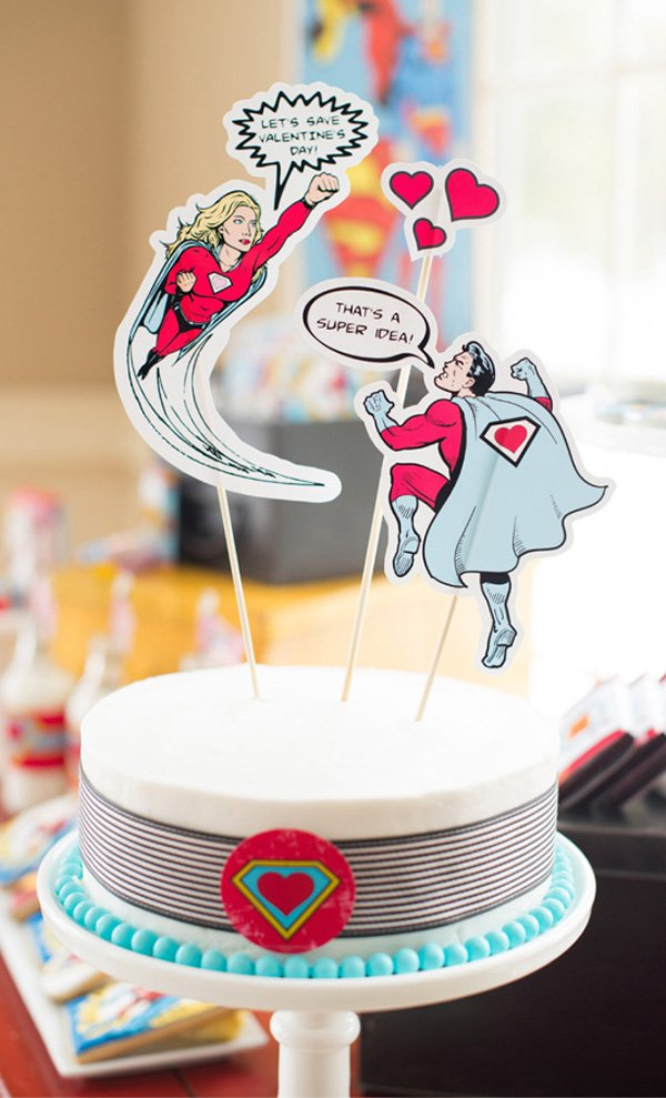 comic book superhero valentines day cake