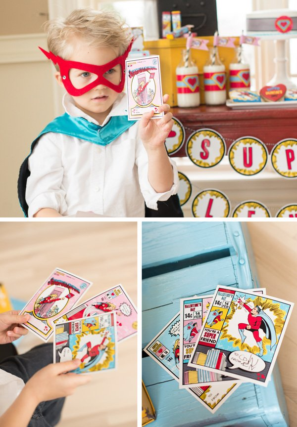 superhero comic book valentine's day cards for kids and an adorable kids hero costume with mask and cape