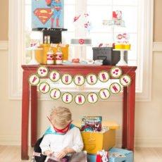 comic book superhero valentine's day dessert table
