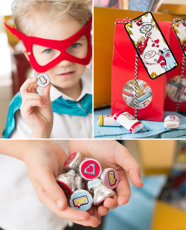 superhero stickers and valentine's day party favors
