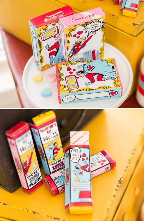 superhero valentine's day gum and candy hearts