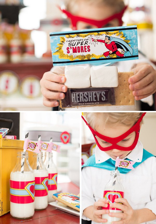 superhero valentine's day smore's kits and milk with paper straws