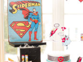 superman poster and hero valentine's day dessert table and display