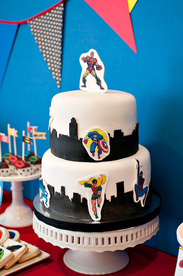 comic book superhero birthday cake