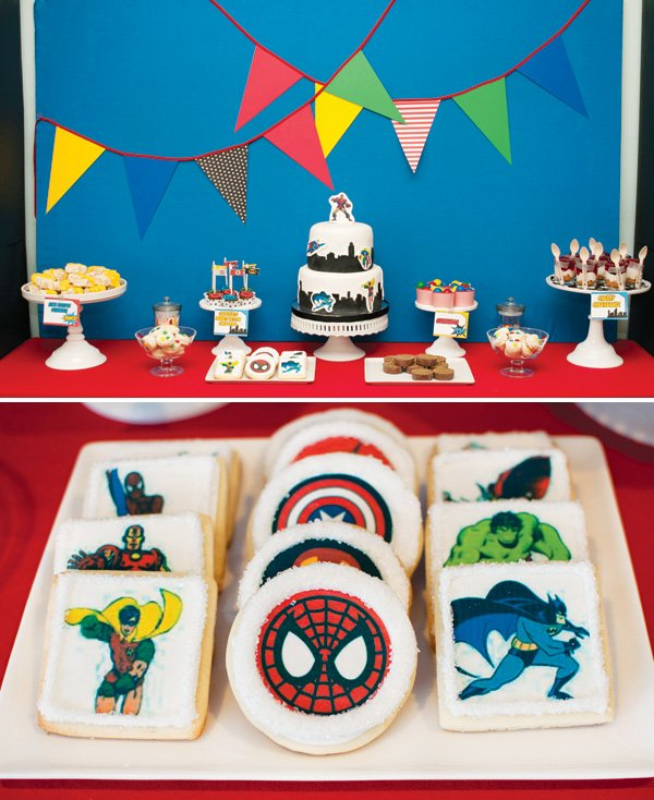 superhero birthday party dessert table cookies