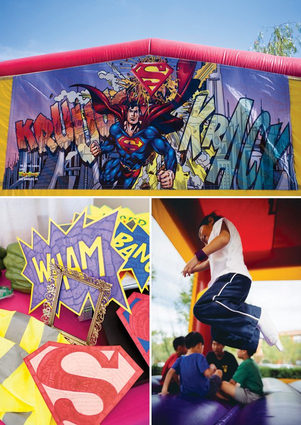 birthday party Superhero bounce house