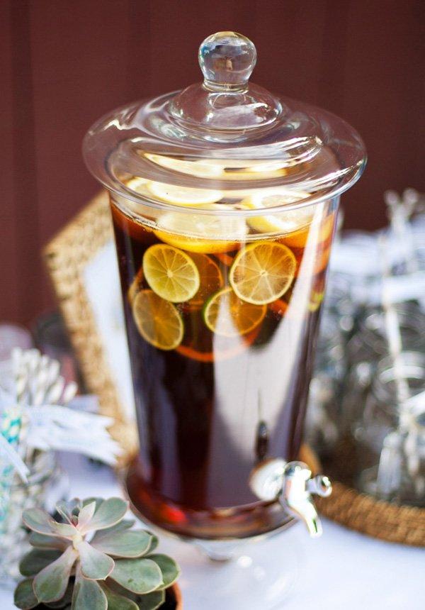 iced tea in an apothecary dispener