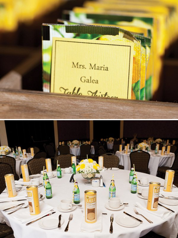 lemon tuscan bridal shower table scape yellow and white