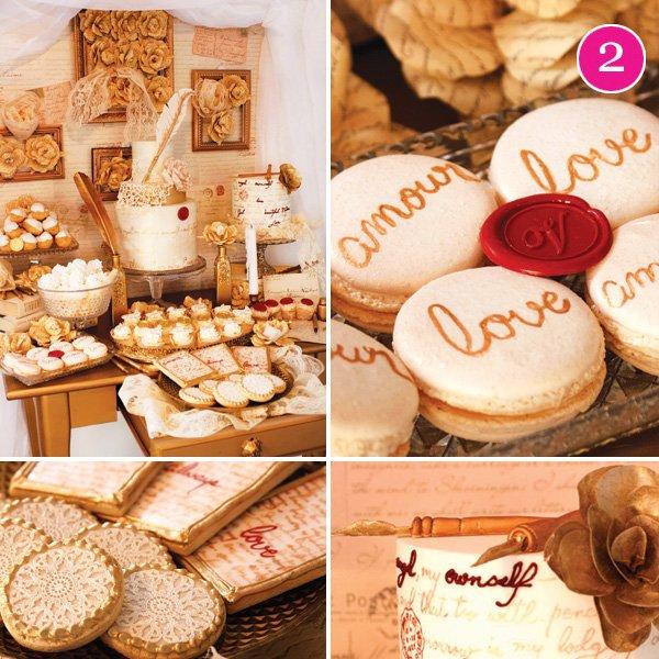vintage love letters valentine's day dessert table