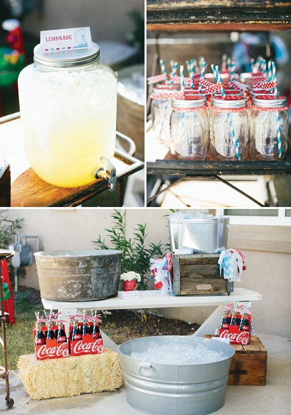 vintage party drinks table with coca cola bottles