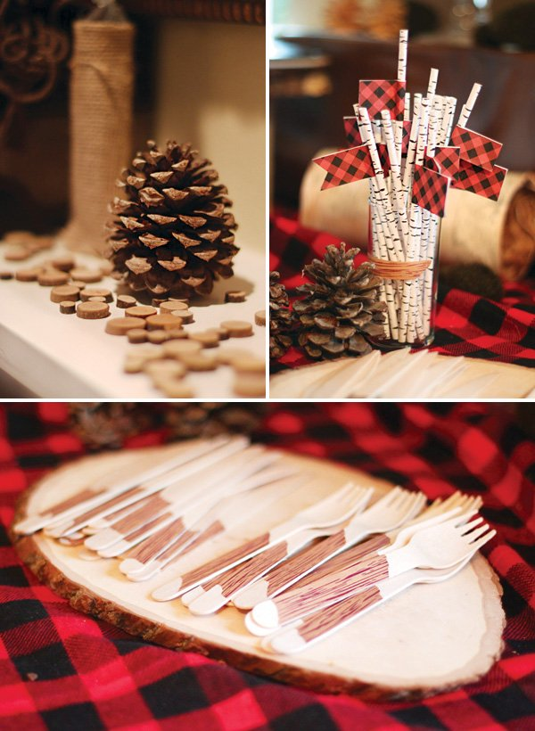 wood grain themed party printables and pinecone party decor
