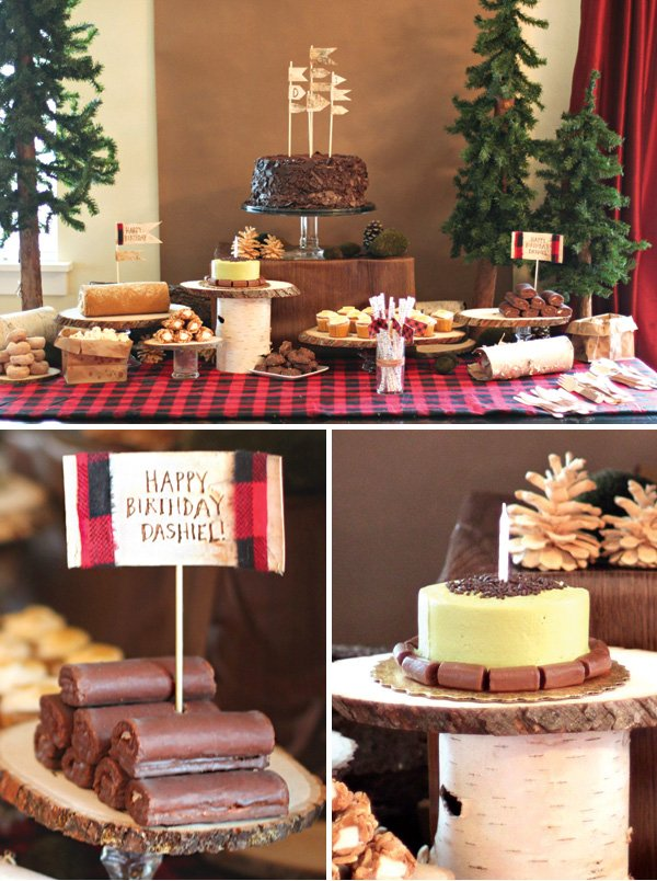 woodsy lumberjack themed dessert table