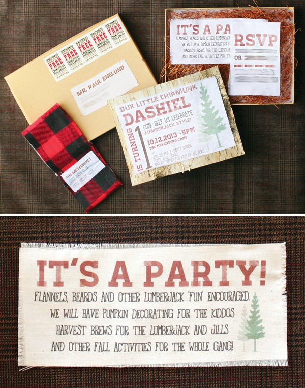woodsy party invitations boxed and printed on muslin