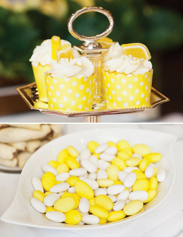 yellow candy and lemon flavored cupcakes
