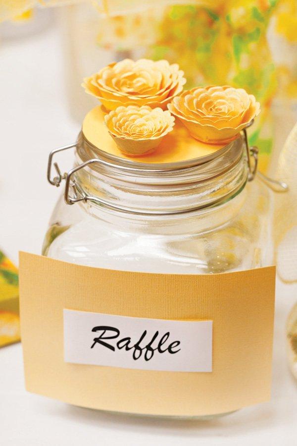 yellow raffle jar