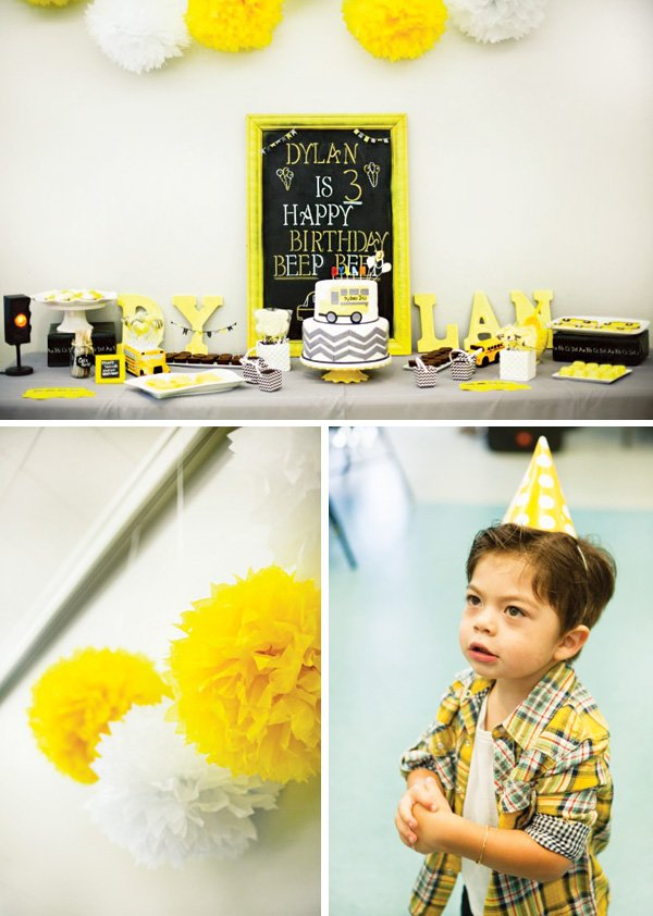 a yellow school bus themed boy's birthday party