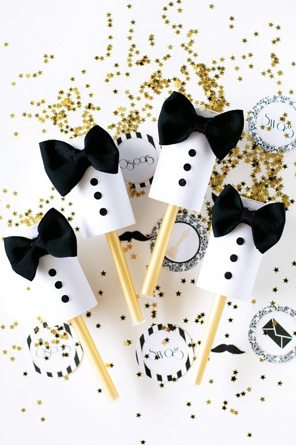 oscars viewing party DIY tuxedo confetti poppers