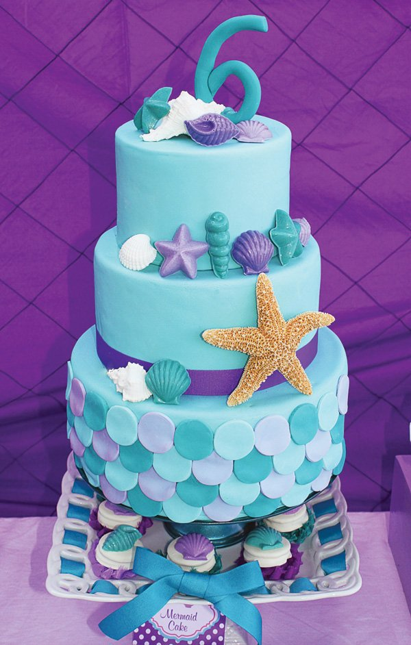 teal and purple, fish scale mermaid birthday cake