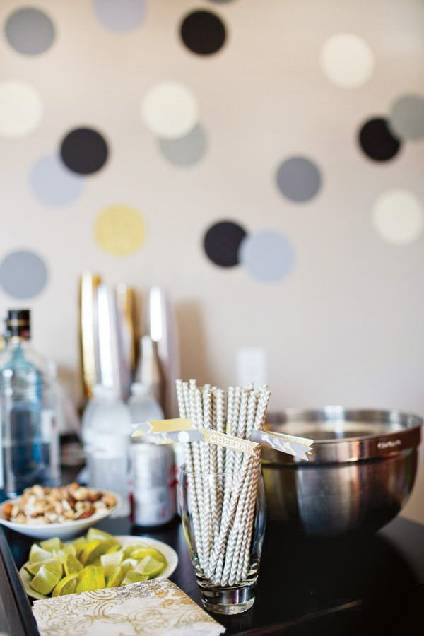 bar decor and drinks for a party