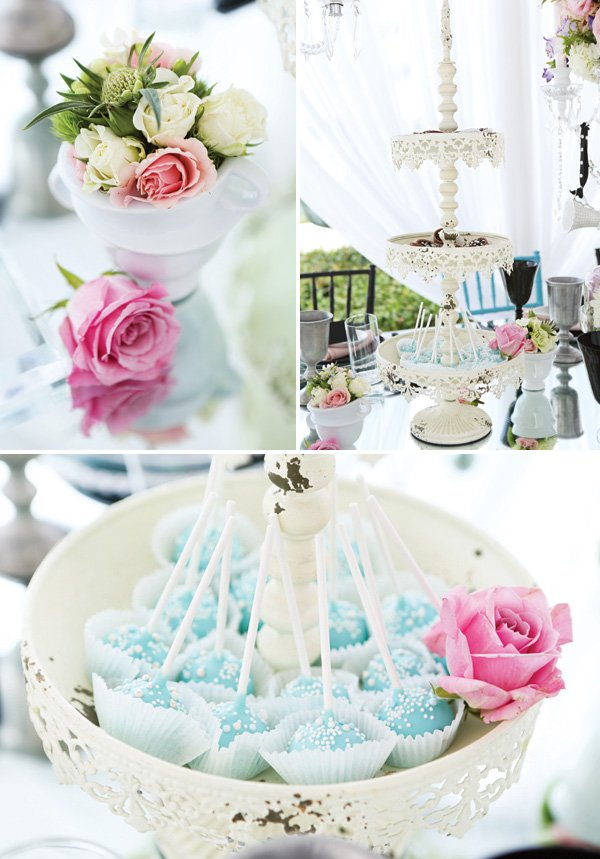 cake pops and small floral arrangements for a whimsical party