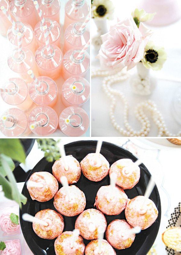 pink drinks, cake pops and other elegant party decor