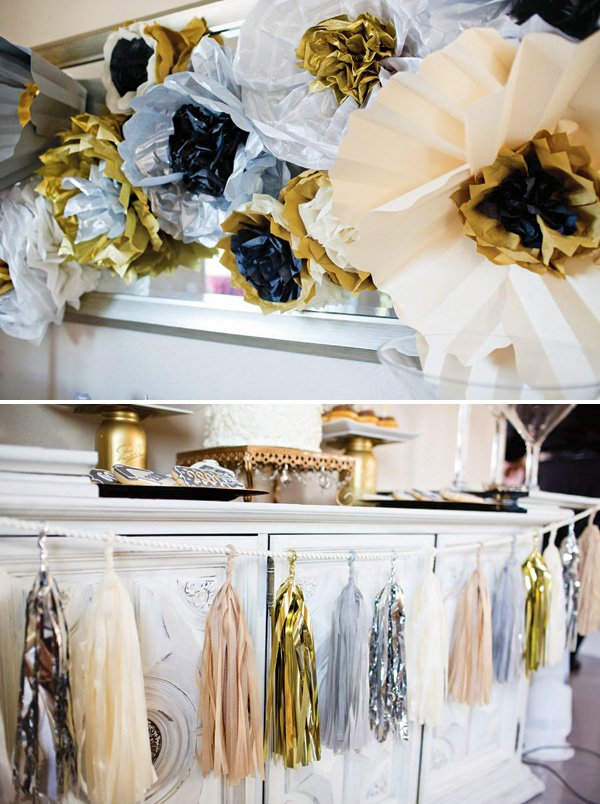 gold and silver DIY tissue paper flowers backdrop