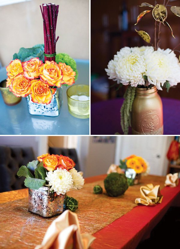 a party's small floral arrangements with mason jars and roses