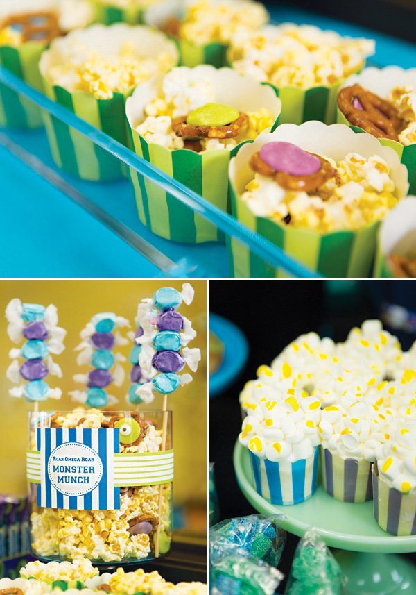 popcorn cupcakes and snacks for movie themed birthday party
