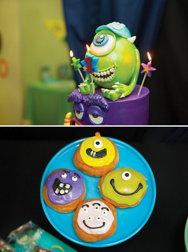 mike from monsters inc cake and monster cookies