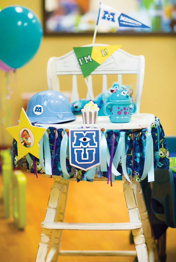 monsters university themed highchair decorations for a first birthday party