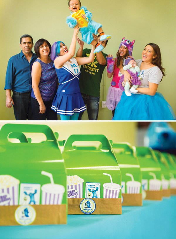 monsters university family photo and party favor boxes