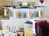 gold and silver dessert table decor and bar drinks