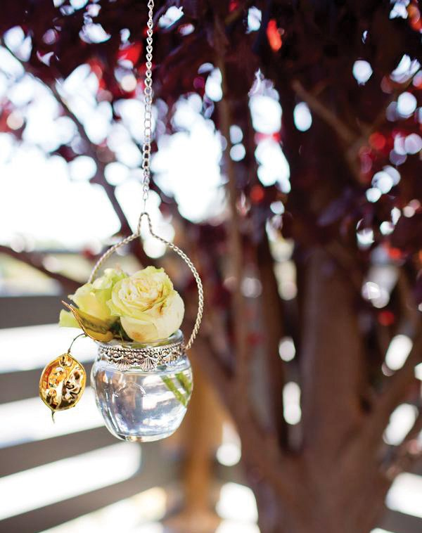 outdoor hanging rose flower vases