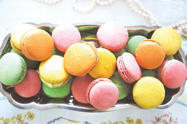 rainbow multicolored french macarons