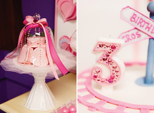 homemade pink marshmallow hearts and 3rd birthday cake topper