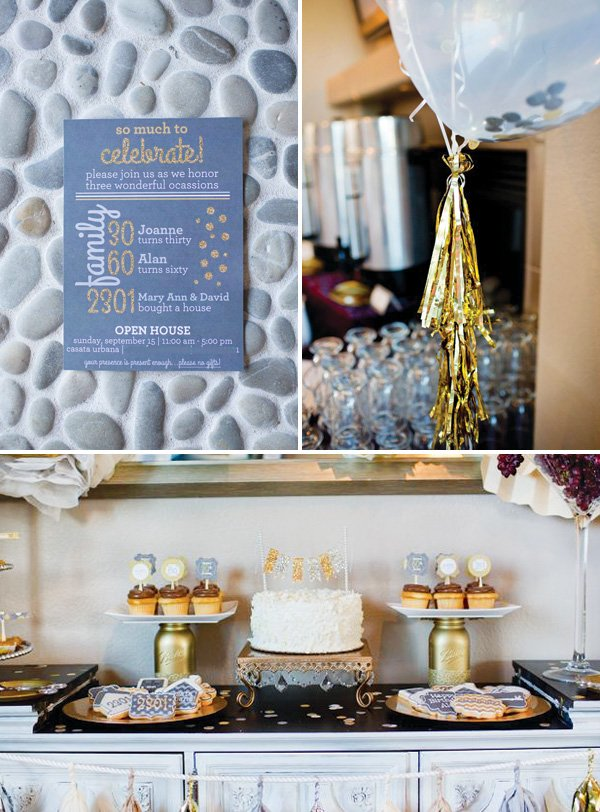 gold and silver party invitation and decor