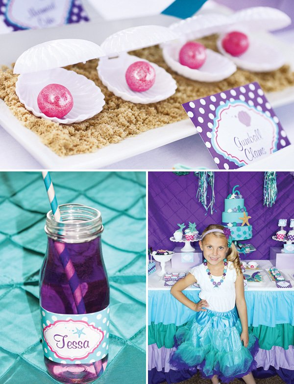 a girl's mermaid and sea themed birthday party