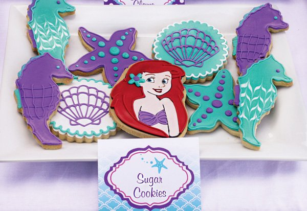 the llittle mermaid ariel and other sea themed cookies
