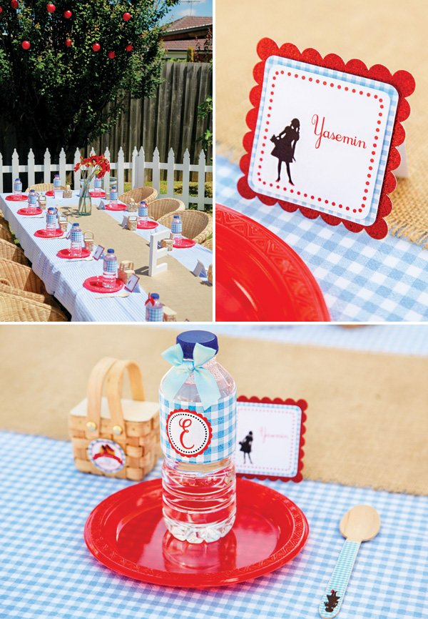 dorothy inspired red and blue gingham tablescape