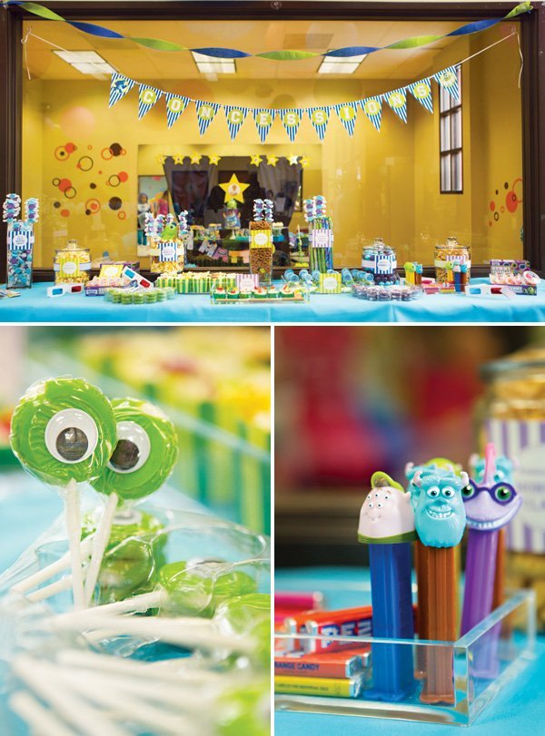 monsters university food and dessert table with eyeball lollipops and character pez dispensers
