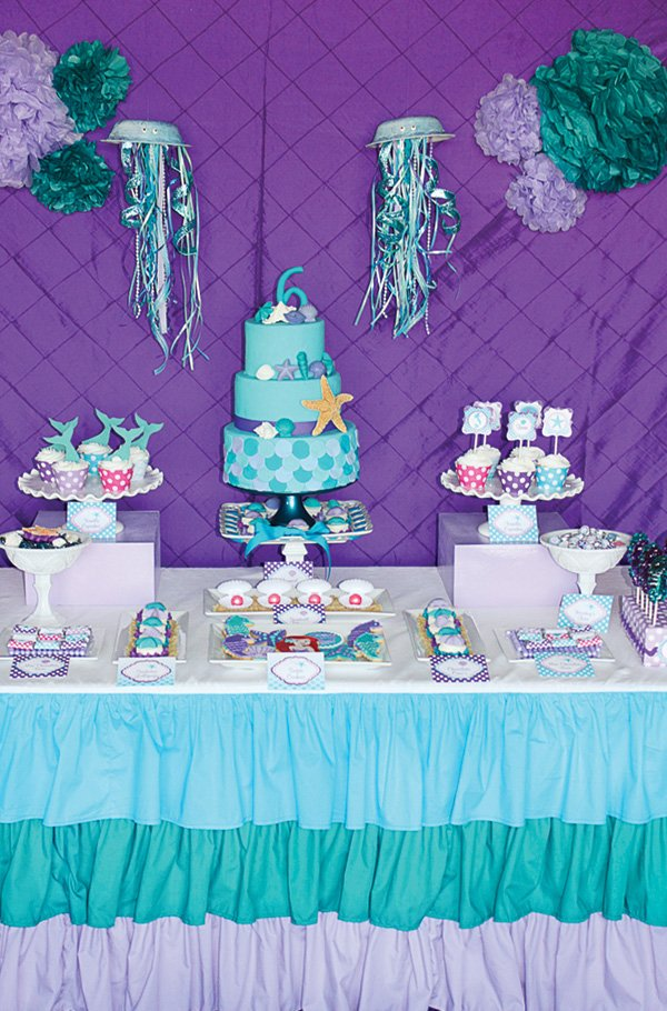 a little mermaid teal and purple birthday dessert table