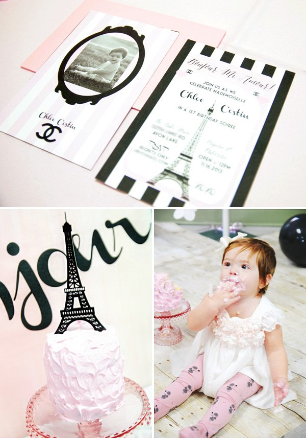 parisian first birthday invitation and pink smash cake