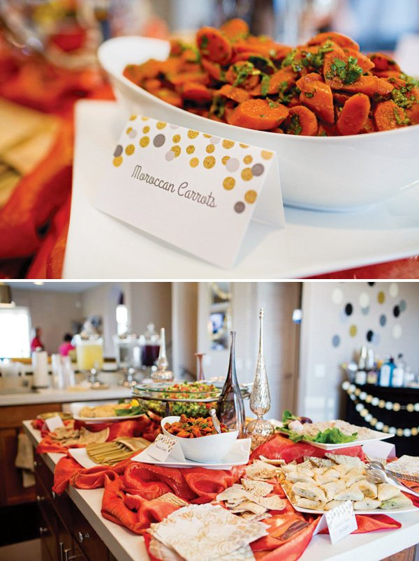 party food and tent cards