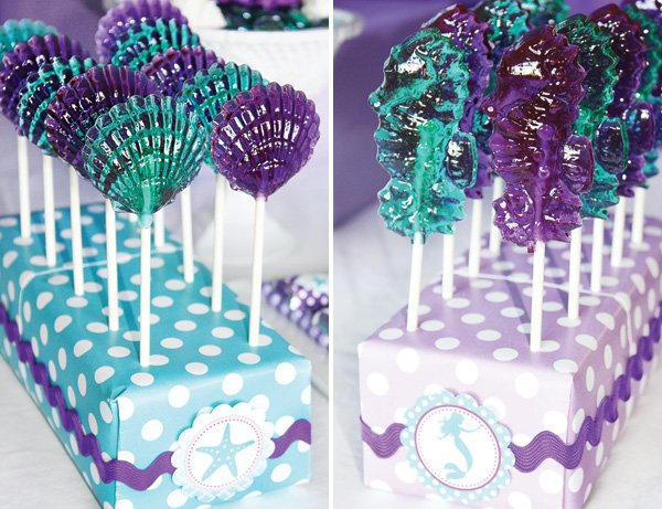 clam and seahorse shaped lollipops